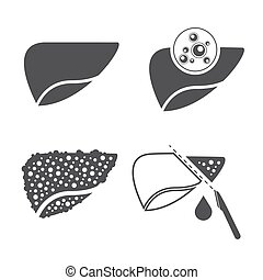 Liver cancer icons set