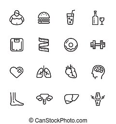 Dietary causes, health effects of obesity. vector line icons