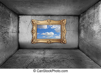 gold frame, framing a blue sky from inside an old dirty room...