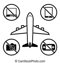 Items not allowed to carry in luggage for boarding. Prohibition icons set.