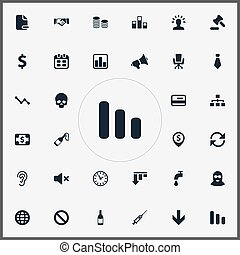 Vector Illustration Set Of Simple Trouble Icons. Elements Tribunal, Dress-Code, Atm Point And Other Synonyms Head, Court And Network.