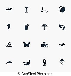 Vector Illustration Set Of Simple Beach Icons. Elements Nautical Star, Tropical Fruits, Mammal Fish And Other Synonyms Tropical, Aquatic And Bicycle.