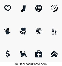 Vector Illustration Set Of Simple Household Icons. Elements Footprint , Hand, Alcohol Synonyms Heart, Medicine And Time.