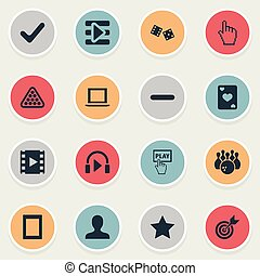 Vector Illustration Set Of Simple Game Icons. Elements Pointer, Notebook, Ace And Other Synonyms Cards, Billiards And Leisure.