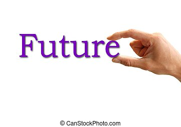 hand holding the worth future - hand holding the word future...
