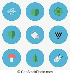 Vector Illustration Set Of Simple Gardening Icons. Elements...