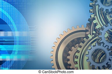 3d digital - 3d illustration of gears system over blue...
