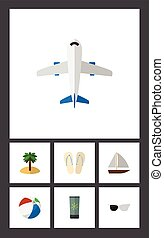 Flat Icon Season Set Of Beach Sandals , Yacht , Aircraft...