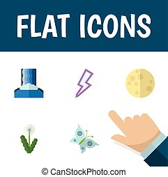 Flat Icon Ecology Set Of Floral, Cascade, Lunar And Other...