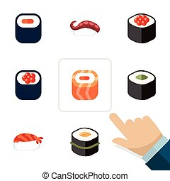Flat Icon Maki Set Of Eating, Maki, Salmon Rolls And Other Vector Objects. Also Includes Rolls, Japanese, Seafood Elements.