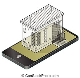 Electric transformer isometric building in mobile phone....