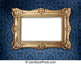 gold frame on victorian or regency style wallpaper - regency...