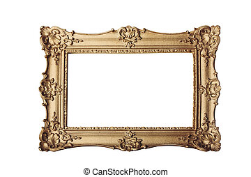 gold frame on white - gold ornate eleaborate frame isolated...