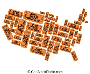 America made out of welcoming raffle tickets for print or...
