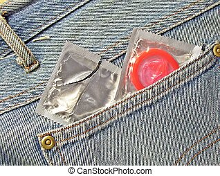 Always in my pants - condom in a jeans pocket