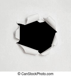 Vector hole in white paper texture with torn sides. Realistic illustration. Background for business. EPS10