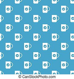 Cup of tea pattern seamless blue - Cup of tea pattern repeat...