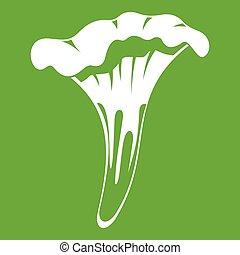 Chanterelle icon green - Chanterelle icon white isolated on...