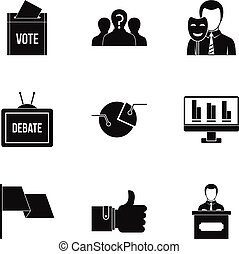 Consulting icons set, simple style - Consulting icons set....