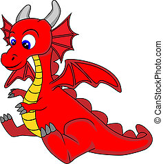 Cute Dragon - vector illustration of a cute dragon . No...