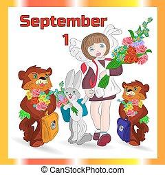 Autumn illustration on September 1 in an orange frame,...