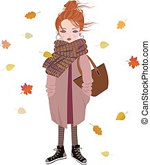 Cute fashion cartoon girl listening to music with headphones.