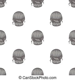 Red combed behind.Back hairstyle single icon in monochrome...