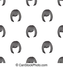 Square.Back hairstyle single icon in monochrome style vector...