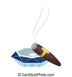 A smoking cigar in an ashtray. Smoking cigars single icon in cartoon style vector symbol stock illustration web.
