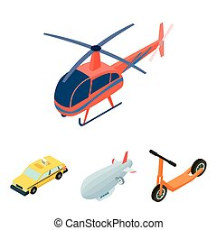 A dirigible, a children's scooter, a taxi, a helicopter.Transport set collection icons in cartoon style vector symbol stock illustration web.