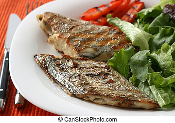 grilled swordfish with salad