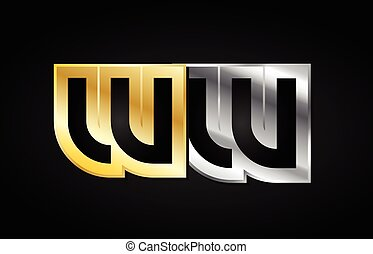gold silver letter joint logo icon alphabet design - WW W W...