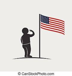People Saluting American Flag Graphic
