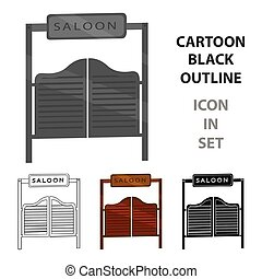 Saloon icon cartoon. Singe western icon from the wild west cartoon.