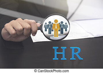 Human resource holding magnifying glass searching. concept...