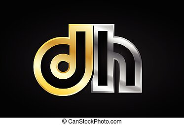 gold silver letter joint logo icon alphabet design - DH D H...
