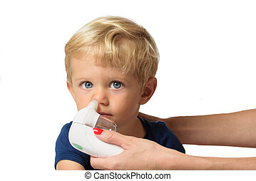 mother cleaning kid boy nose - Mother using baby electric...