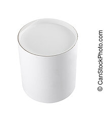 White cylindrical round tub - Plain blank white round tub or...