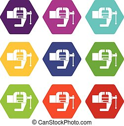 Vise tool icon set color hexahedron - Vise tool icon set...