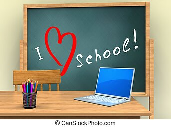3d computer - 3d illustration of board with love school text...