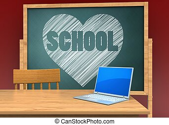 3d blank - 3d illustration of board with heart and school...