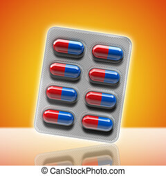 Red and blue pills in a blister on yellow background. 3d...