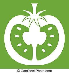 Half of tomato icon green - Half of tomato icon white...
