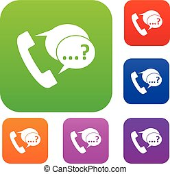 Phone sign and support speech bubbles set collection - Phone...