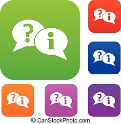 Question and exclamation speech bubbles set collection