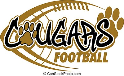 cougars football team design with paw print and laces for...