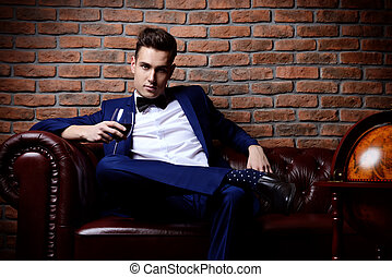 luxurious vintage style - Imposing well dressed man in a...