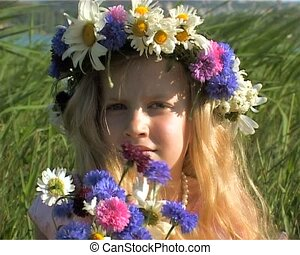 little girl in flowers wreath - happy little girl in flowers...