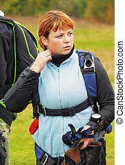 portrait the girl parachutist