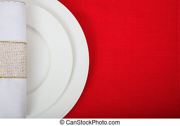 Formal table setting on red tablecloth - Festive place...